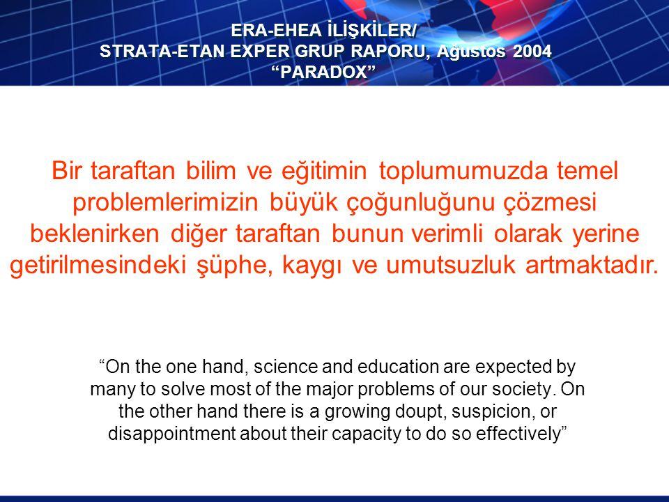 ERA-EHEA İLİŞKİLER/ STRATA-ETAN EXPER GRUP RAPORU, Ağustos 2004 PARADOX