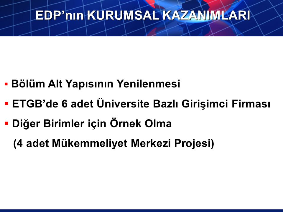 EDP'nın KURUMSAL KAZANIMLARI