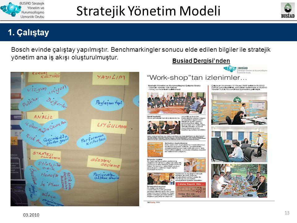 1. Çalıştay Bosch evinde çalıştay yapılmıştır. Benchmarkingler sonucu elde edilen bilgiler ile stratejik yönetim ana iş akışı oluşturulmuştur.