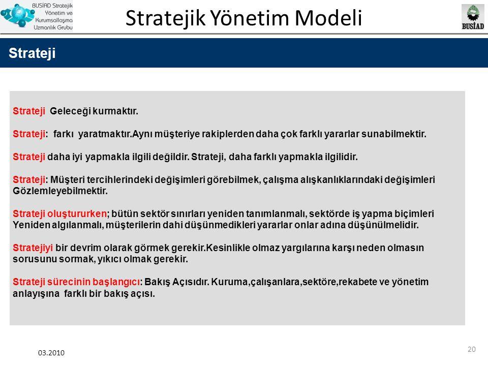 Strateji Strateji Geleceği kurmaktır.