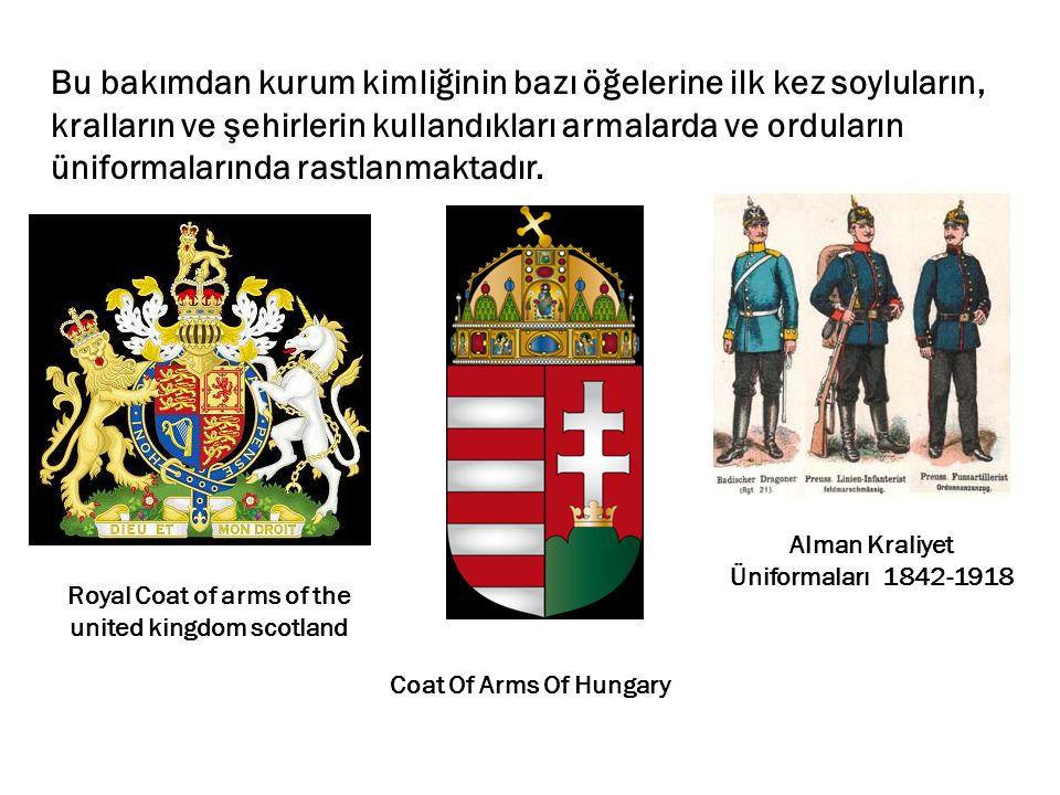 Bu bakımdan kurum kimliğinin bazı öğelerine ilk kez soyluların, kralların ve şehirlerin kullandıkları armalarda ve orduların üniformalarında rastlanmaktadır.
