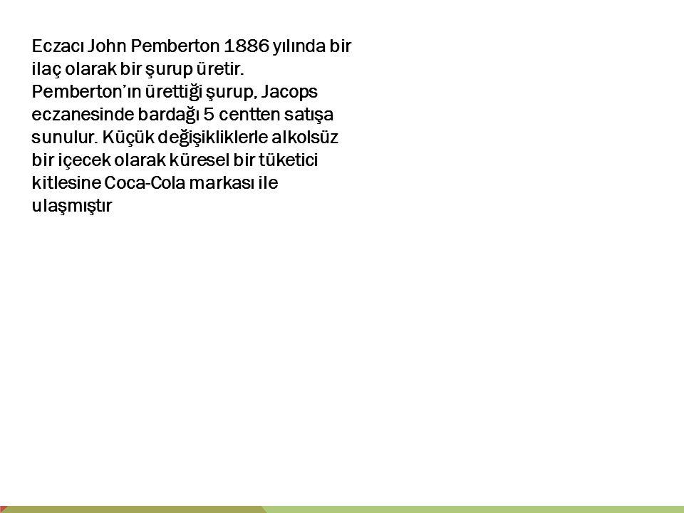 Eczacı John Pemberton 1886 yılında bir ilaç olarak bir şurup üretir