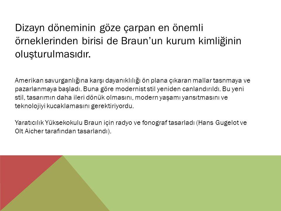 Dizayn döneminin göze çarpan en önemli örneklerinden birisi de Braun'un kurum kimliğinin oluşturulmasıdır.
