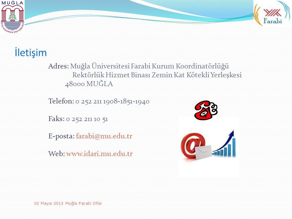 İletişim Adres: Muğla Üniversitesi Farabi Kurum Koordinatörlüğü Rektörlük Hizmet Binası Zemin Kat Kötekli Yerleşkesi.