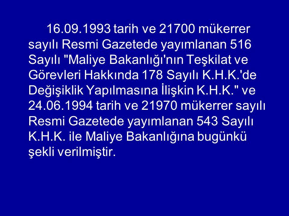 16.09.1993 tarih ve 21700 mükerrer sayılı Resmi Gazetede yayımlanan 516 Sayılı Maliye Bakanlığı nın Teşkilat ve Görevleri Hakkında 178 Sayılı K.H.K. de Değişiklik Yapılmasına İlişkin K.H.K. ve 24.06.1994 tarih ve 21970 mükerrer sayılı Resmi Gazetede yayımlanan 543 Sayılı K.H.K.