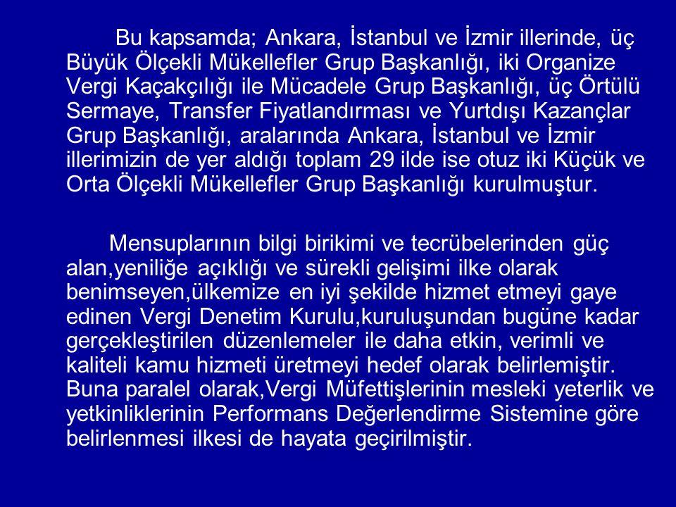Bu kapsamda; Ankara, İstanbul ve İzmir illerinde, üç Büyük Ölçekli Mükellefler Grup Başkanlığı, iki Organize Vergi Kaçakçılığı ile Mücadele Grup Başkanlığı, üç Örtülü Sermaye, Transfer Fiyatlandırması ve Yurtdışı Kazançlar Grup Başkanlığı, aralarında Ankara, İstanbul ve İzmir illerimizin de yer aldığı toplam 29 ilde ise otuz iki Küçük ve Orta Ölçekli Mükellefler Grup Başkanlığı kurulmuştur.