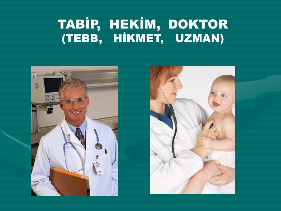 TABİP, HEKİM, DOKTOR (TEBB, HİKMET, UZMAN)