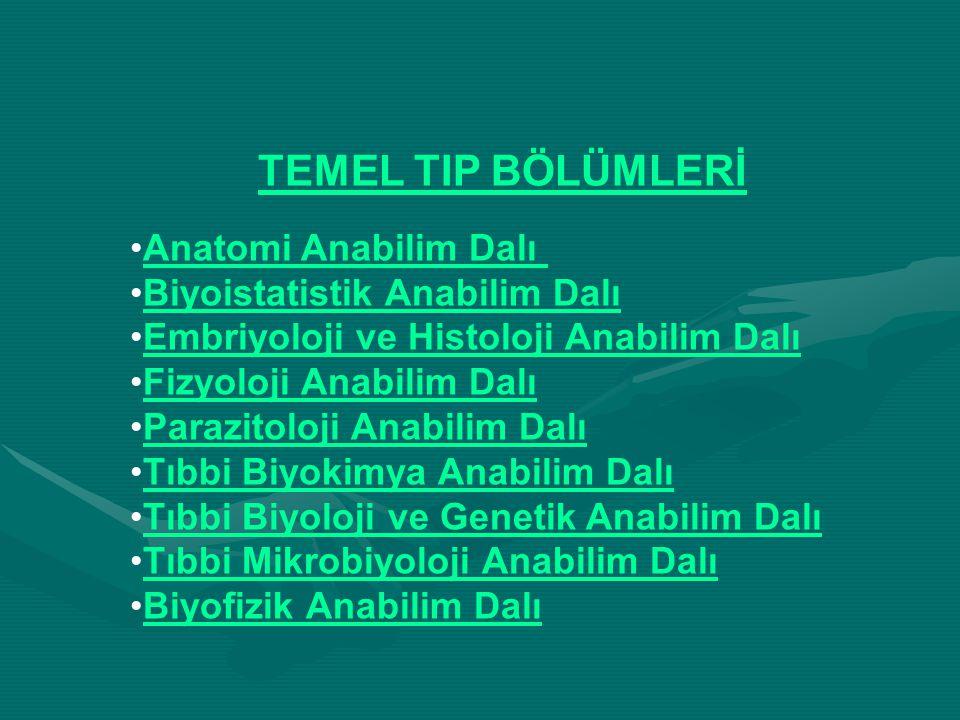 TEMEL TIP BÖLÜMLERİ Anatomi Anabilim Dalı Biyoistatistik Anabilim Dalı