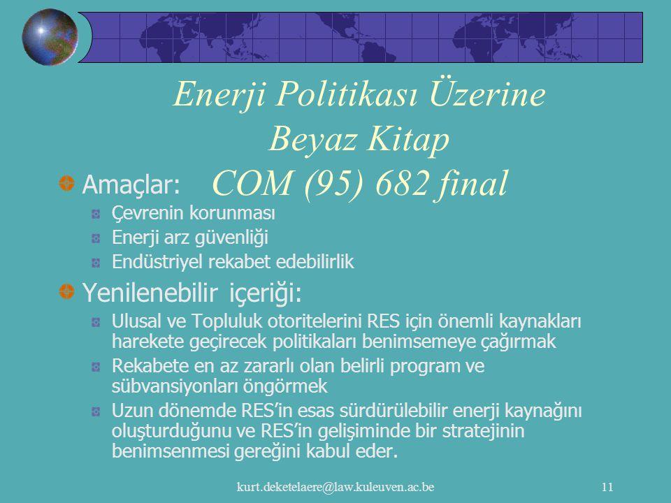 Enerji Politikası Üzerine Beyaz Kitap COM (95) 682 final