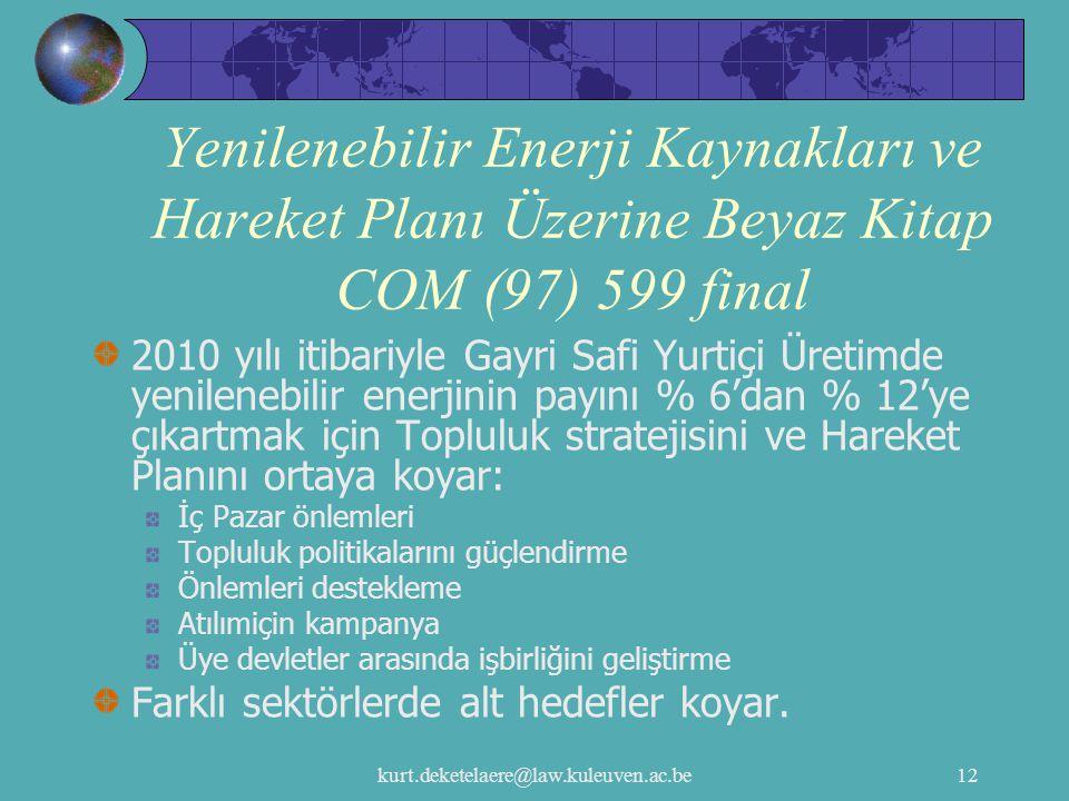 Yenilenebilir Enerji Kaynakları ve Hareket Planı Üzerine Beyaz Kitap COM (97) 599 final