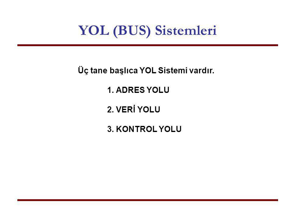 YOL (BUS) Sistemleri Üç tane başlıca YOL Sistemi vardır. 1. ADRES YOLU