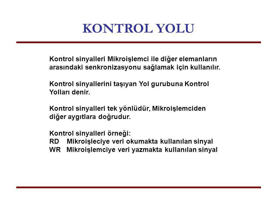 KONTROL YOLU Kontrol sinyalleri Mikroişlemci ile diğer elemanların arasındaki senkronizasyonu sağlamak için kullanılır.