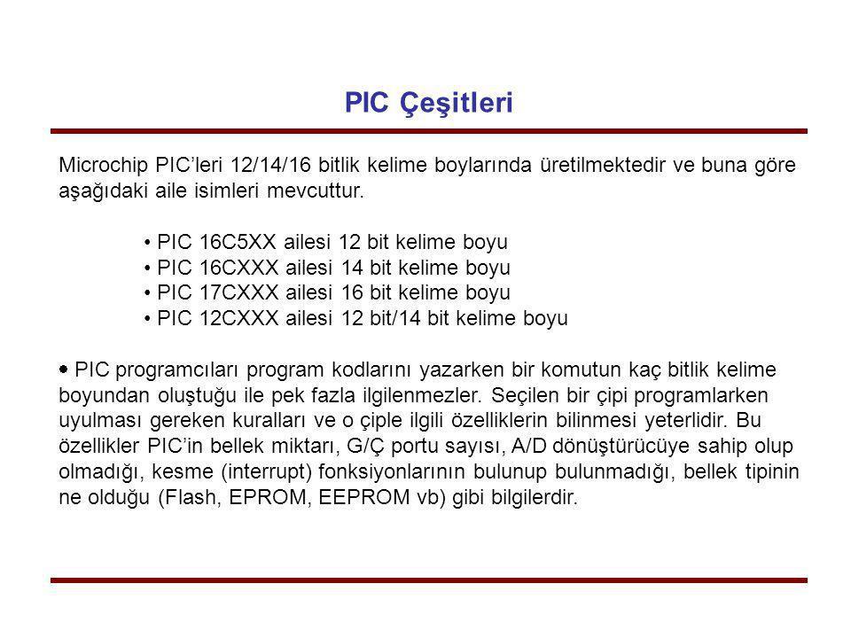 PIC Çeşitleri Microchip PIC'leri 12/14/16 bitlik kelime boylarında üretilmektedir ve buna göre. aşağıdaki aile isimleri mevcuttur.