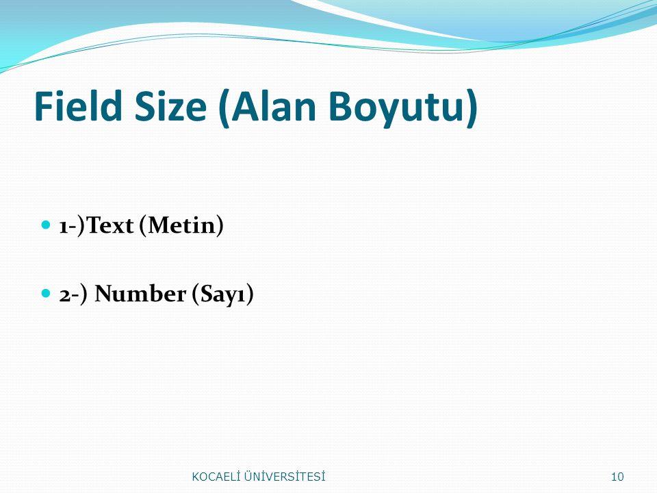 Field Size (Alan Boyutu)