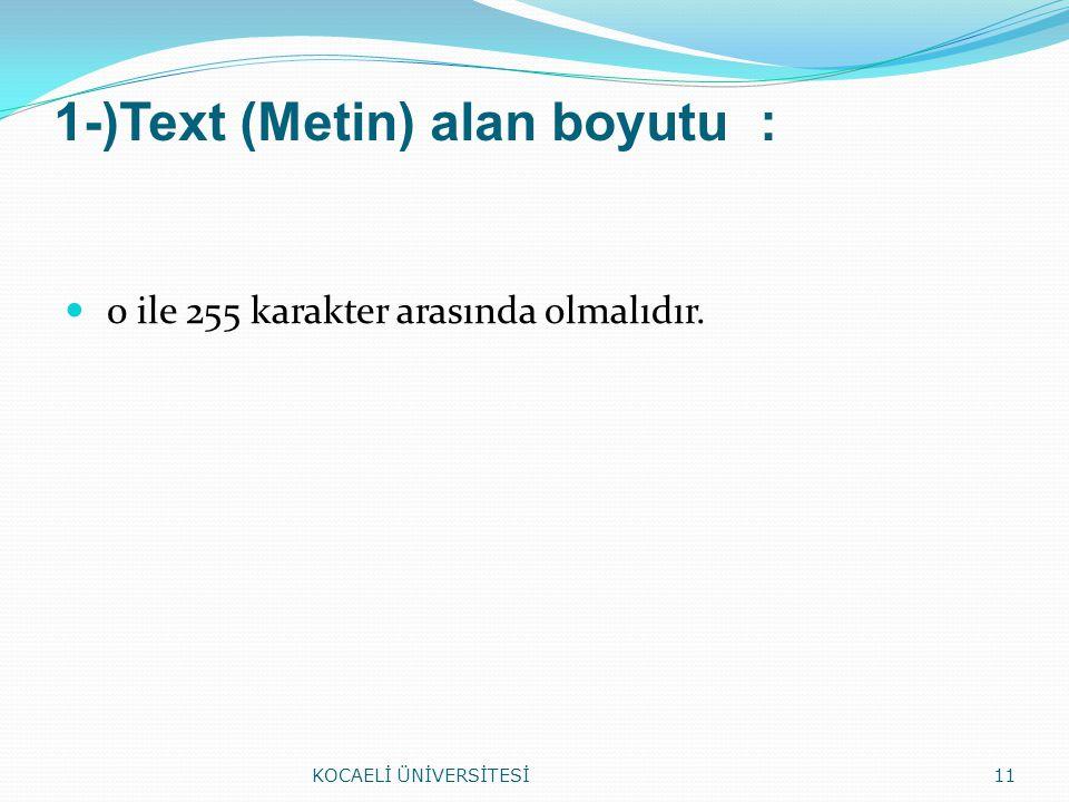 1-)Text (Metin) alan boyutu :