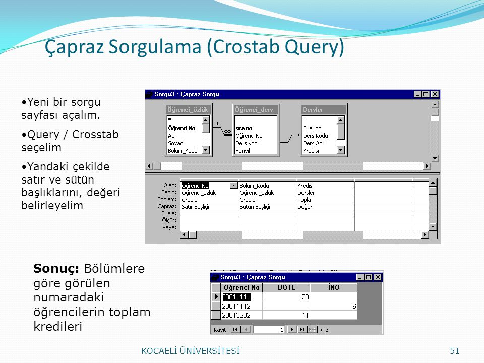 Çapraz Sorgulama (Crostab Query)