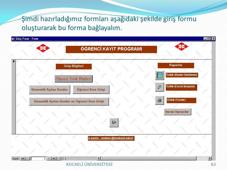 Şimdi hazırladığımız formları aşağıdaki şekilde giriş formu oluşturarak bu forma bağlayalım.