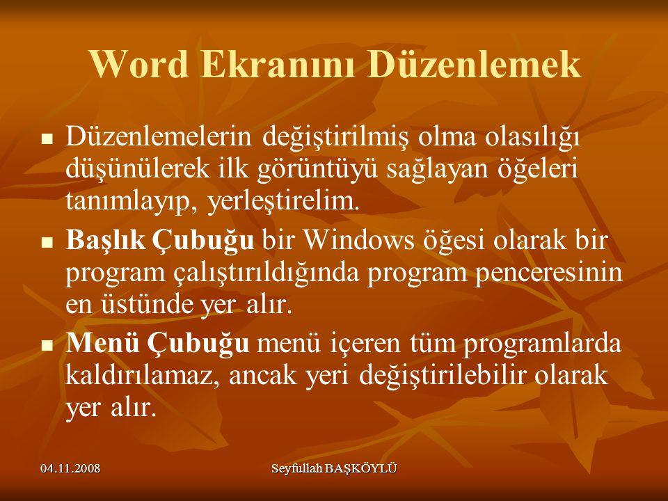 Word Ekranını Düzenlemek
