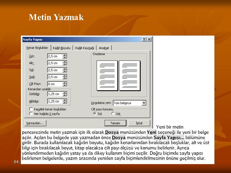 Metin Yazmak 04.11.2008 Seyfullah BAŞKÖYLÜ