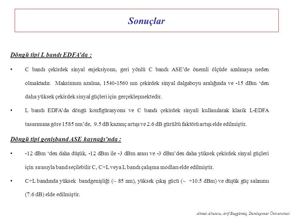 Sonuçlar Döngü tipi L bandı EDFA'da :