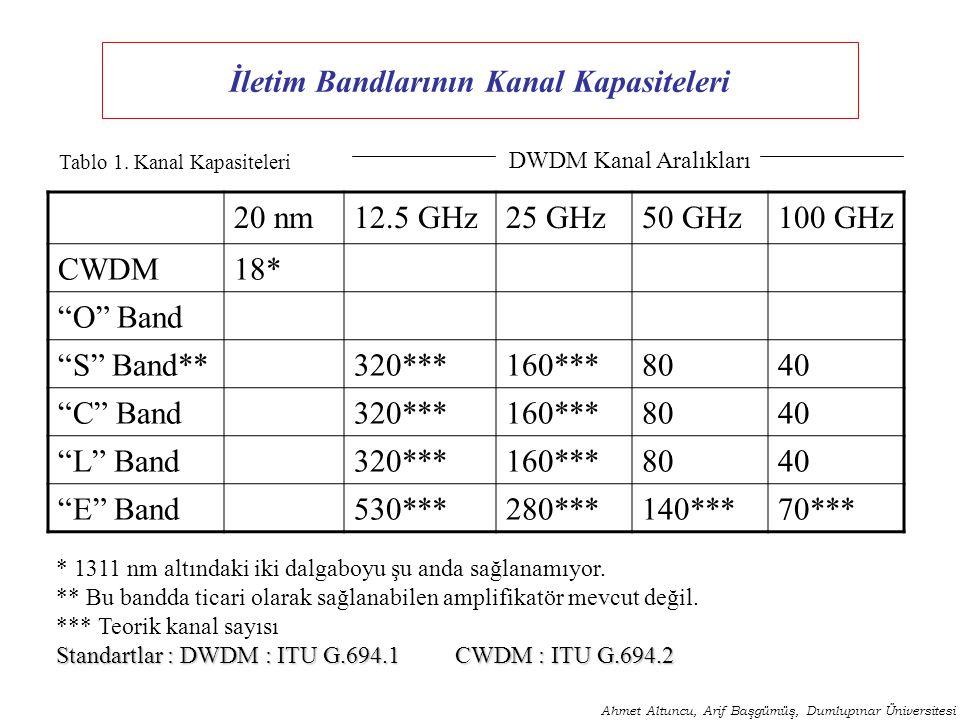 İletim Bandlarının Kanal Kapasiteleri