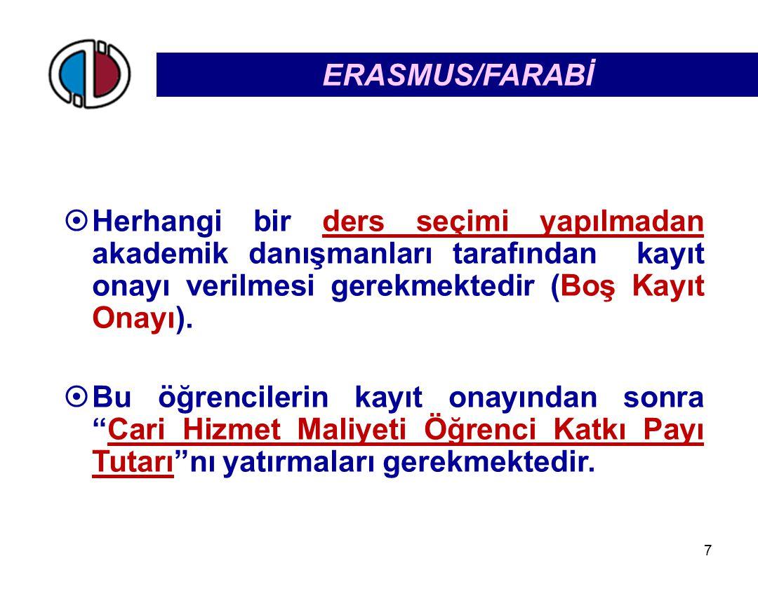 ERASMUS/FARABİ Herhangi bir ders seçimi yapılmadan akademik danışmanları tarafından kayıt onayı verilmesi gerekmektedir (Boş Kayıt Onayı).