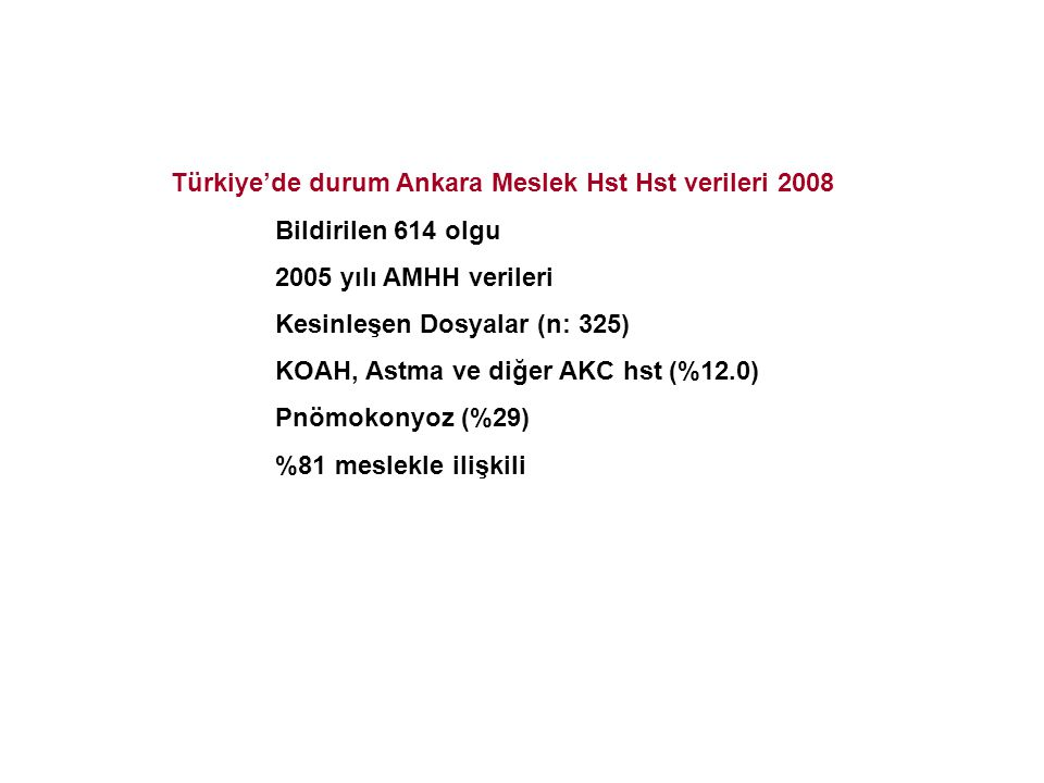 Türkiye'de durum Ankara Meslek Hst Hst verileri 2008