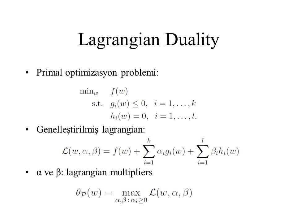 Lagrangian Duality Primal optimizasyon problemi: