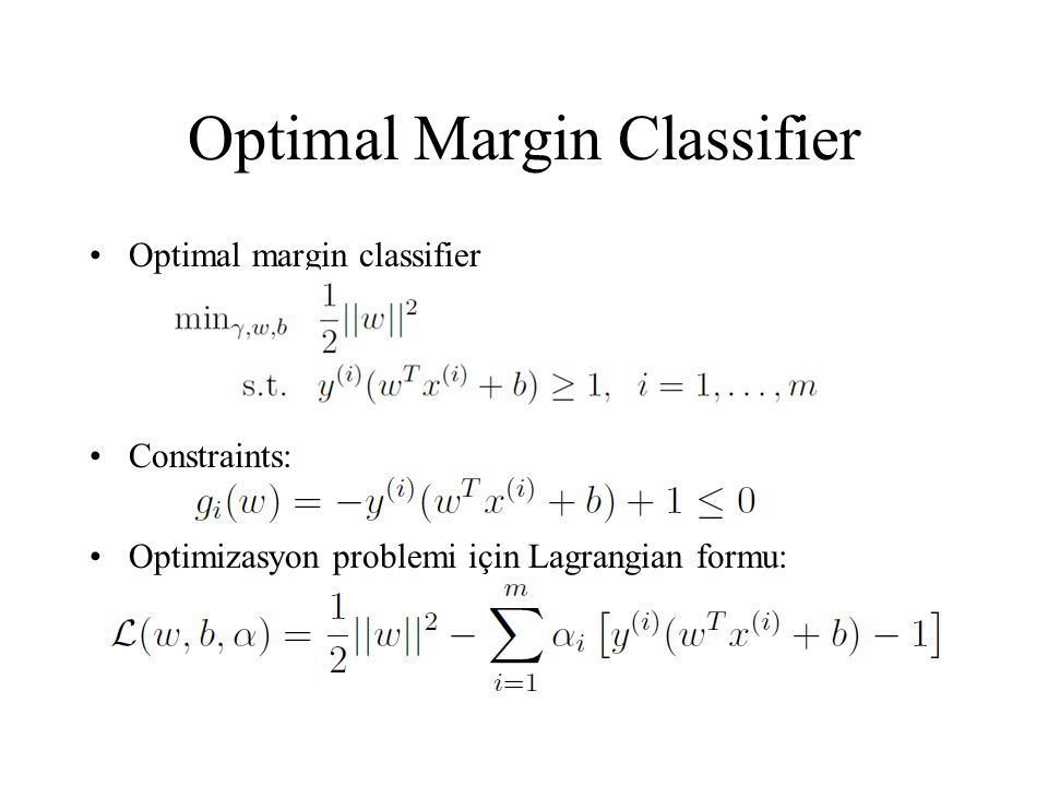 Optimal Margin Classifier