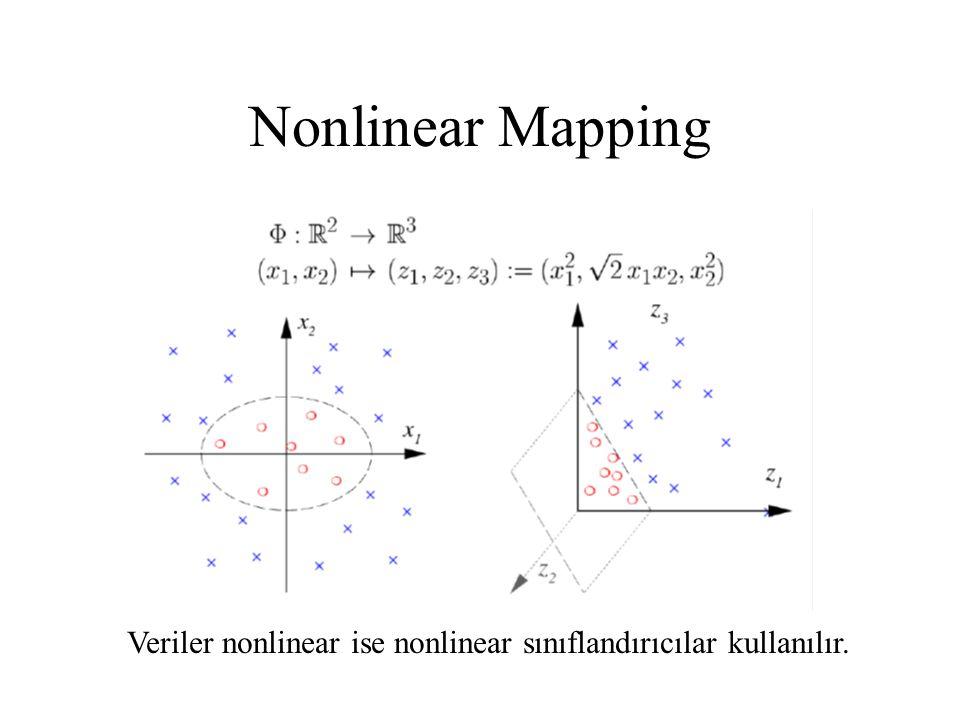 Nonlinear Mapping Veriler nonlinear ise nonlinear sınıflandırıcılar kullanılır.