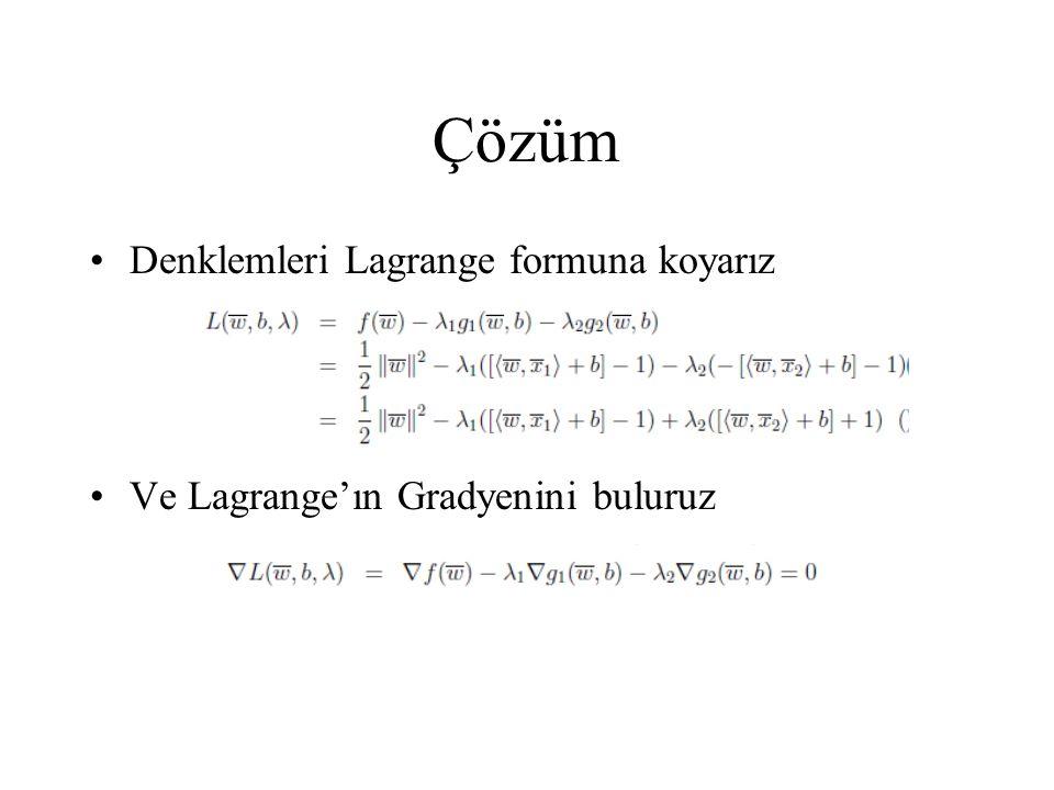 Çözüm Denklemleri Lagrange formuna koyarız