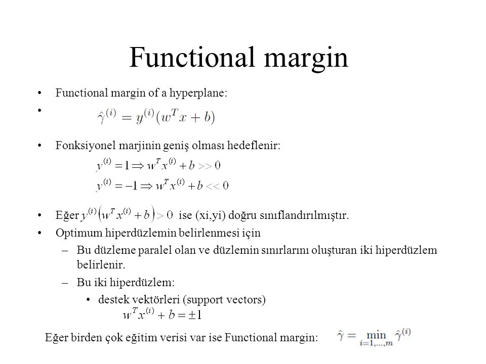 Functional margin Functional margin of a hyperplane: