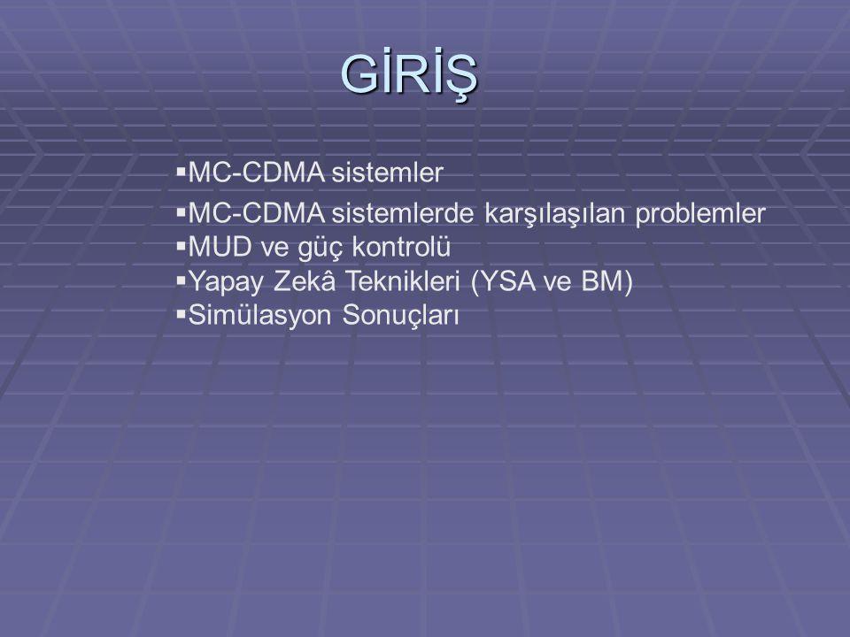 GİRİŞ MC-CDMA sistemler MC-CDMA sistemlerde karşılaşılan problemler