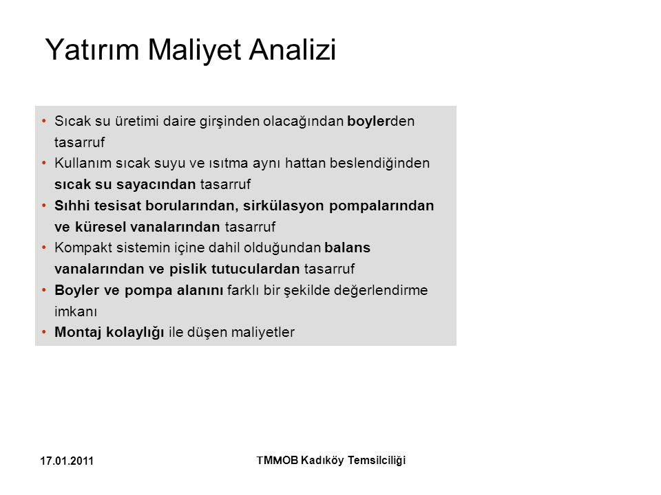 Yatırım Maliyet Analizi