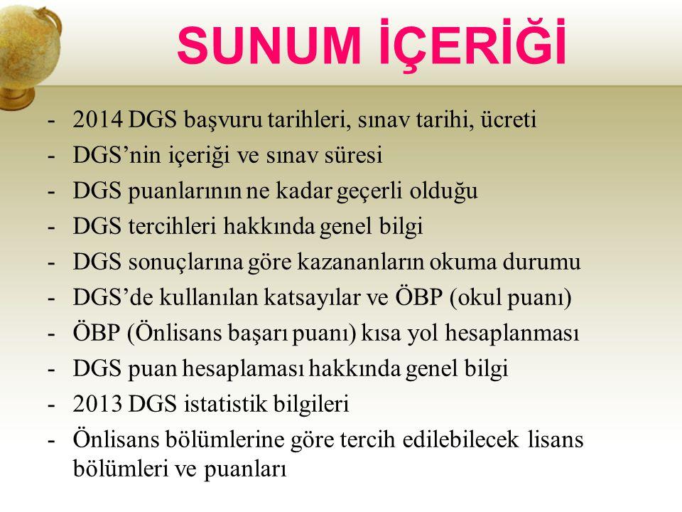 SUNUM İÇERİĞİ 2014 DGS başvuru tarihleri, sınav tarihi, ücreti