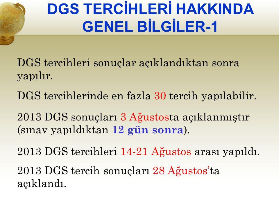 DGS TERCİHLERİ HAKKINDA GENEL BİLGİLER-1