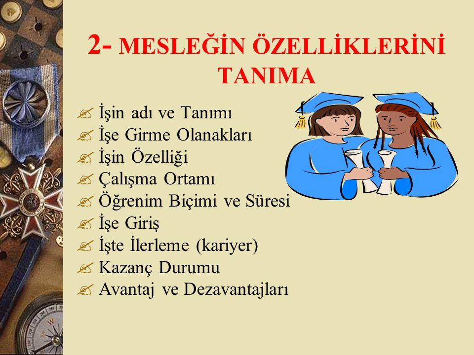 2- MESLEĞİN ÖZELLİKLERİNİ TANIMA