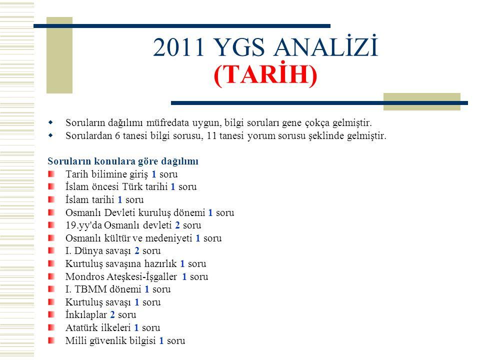 2011 YGS ANALİZİ (TARİH) Soruların dağılımı müfredata uygun, bilgi soruları gene çokça gelmiştir.