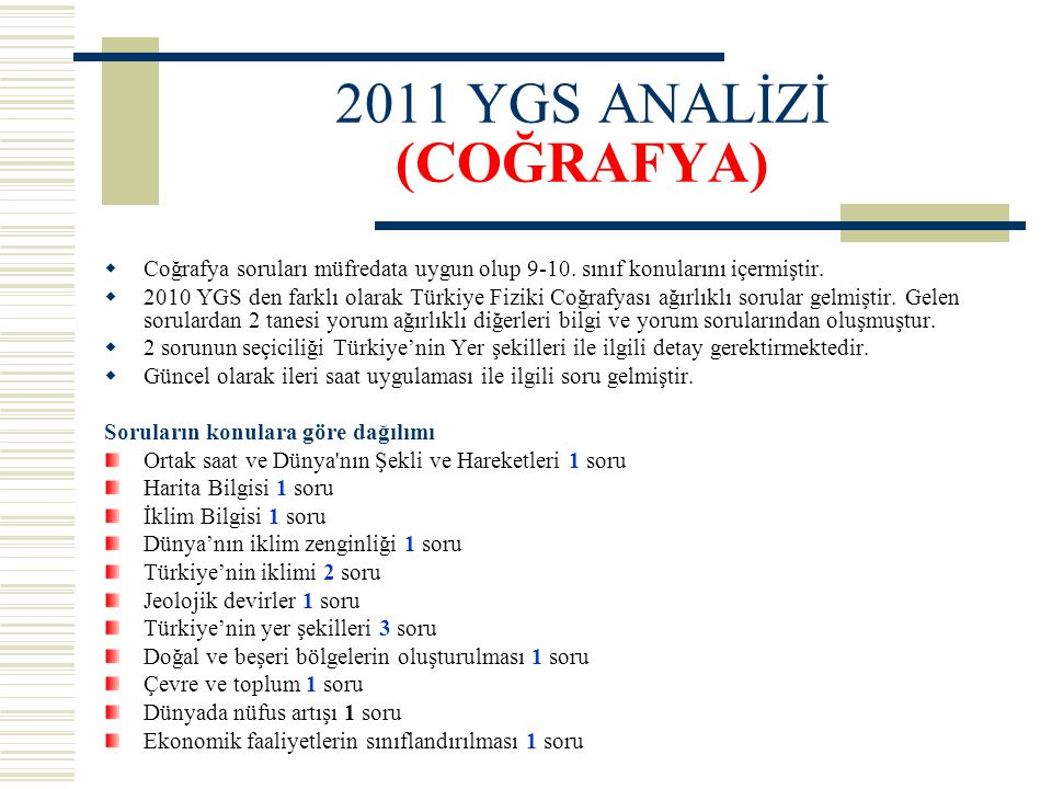 2011 YGS ANALİZİ (COĞRAFYA)