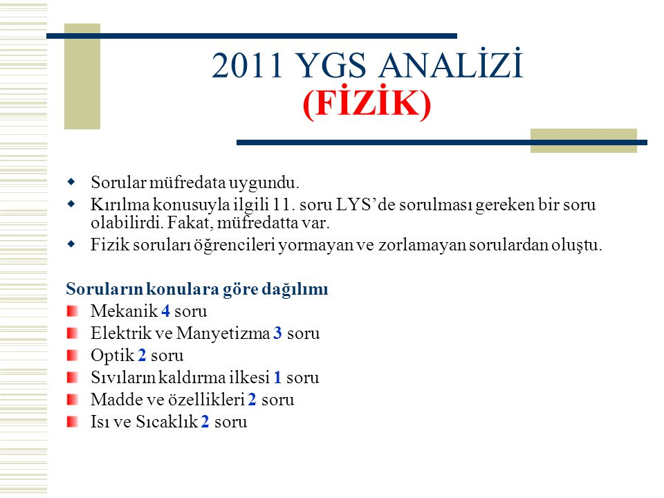 2011 YGS ANALİZİ (FİZİK) Sorular müfredata uygundu.