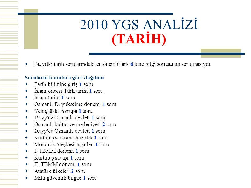 2010 YGS ANALİZİ (TARİH) Bu yılki tarih sorularındaki en önemli fark 6 tane bilgi sorusunun sorulmasıydı.