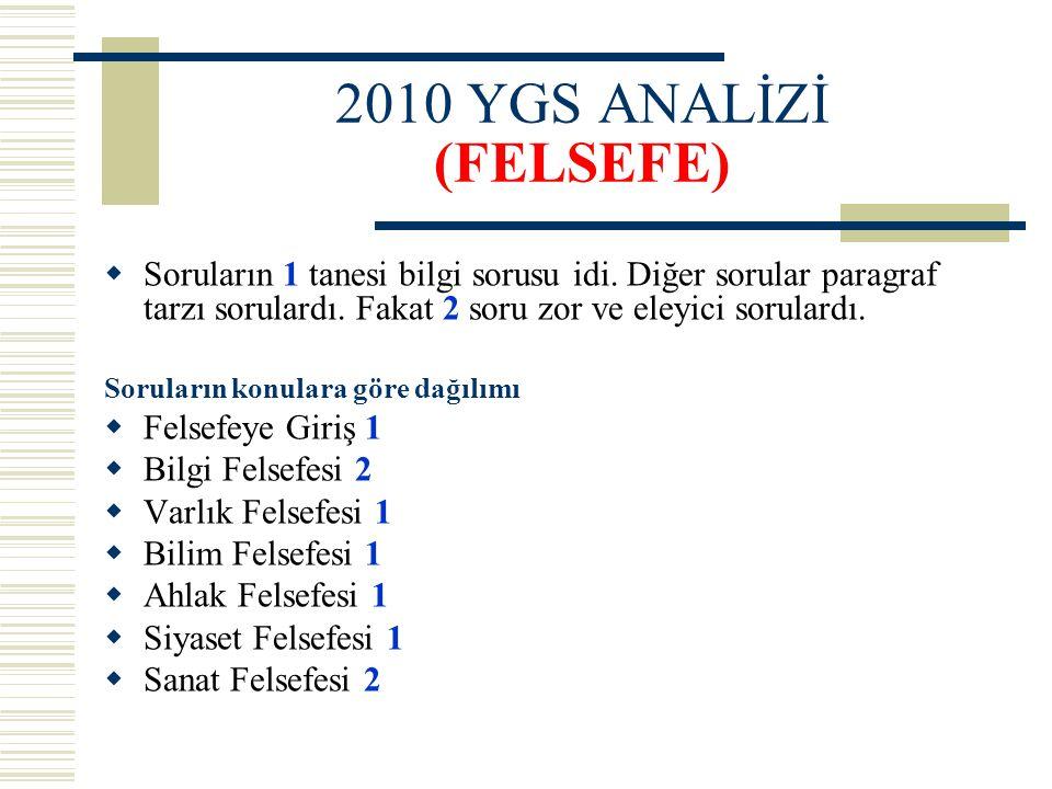 2010 YGS ANALİZİ (FELSEFE) Soruların 1 tanesi bilgi sorusu idi. Diğer sorular paragraf tarzı sorulardı. Fakat 2 soru zor ve eleyici sorulardı.