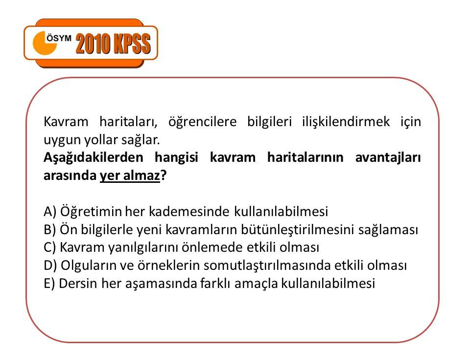 2010 KPSS Kavram haritaları, öğrencilere bilgileri ilişkilendirmek için uygun yollar sağlar.