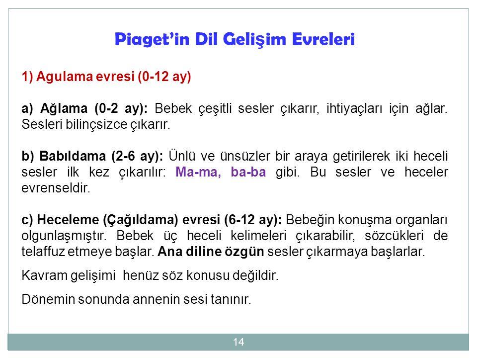 Piaget'in Dil Gelişim Evreleri