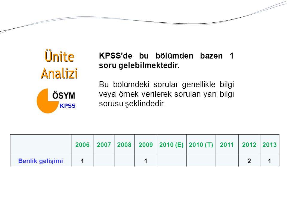 Ünite Analizi KPSS'de bu bölümden bazen 1 soru gelebilmektedir.