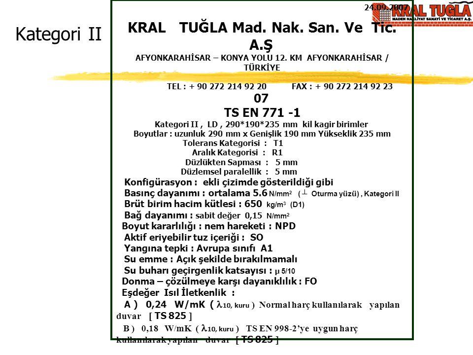 Kategori II KRAL TUĞLA Mad. Nak. San. Ve Tic. A.Ş 07 TS EN 771 -1