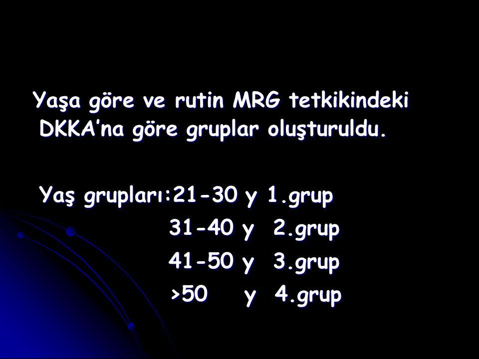 Yaşa göre ve rutin MRG tetkikindeki DKKA'na göre gruplar oluşturuldu.
