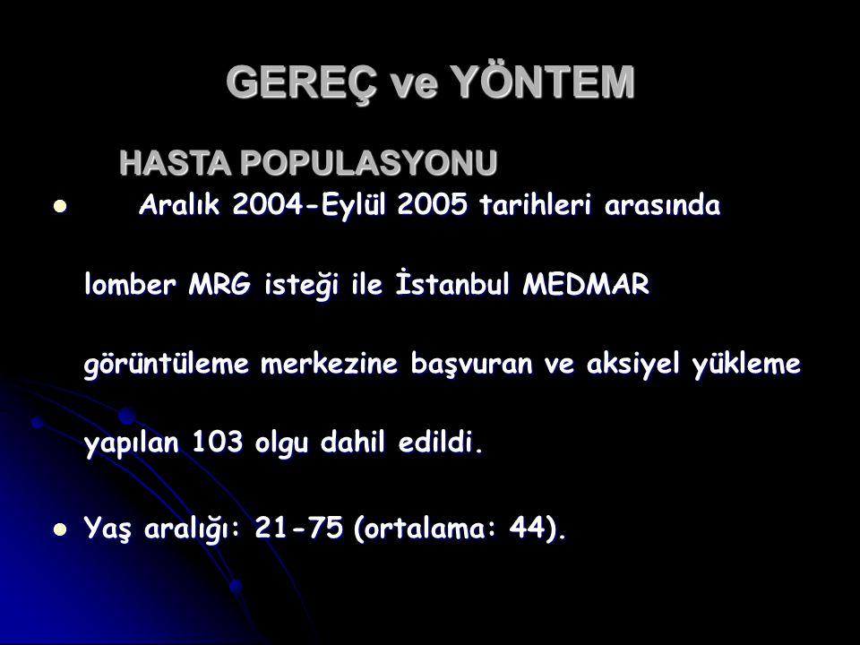 GEREÇ ve YÖNTEM HASTA POPULASYONU