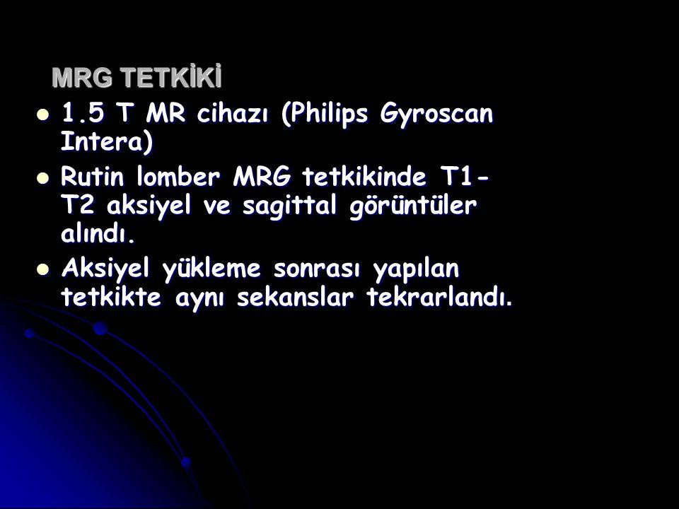 MRG TETKİKİ 1.5 T MR cihazı (Philips Gyroscan Intera) Rutin lomber MRG tetkikinde T1-T2 aksiyel ve sagittal görüntüler alındı.