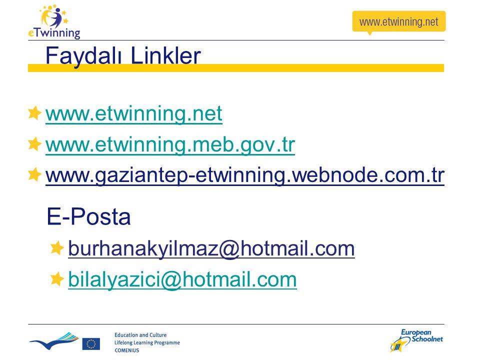 Faydalı Linkler E-Posta www.etwinning.net www.etwinning.meb.gov.tr